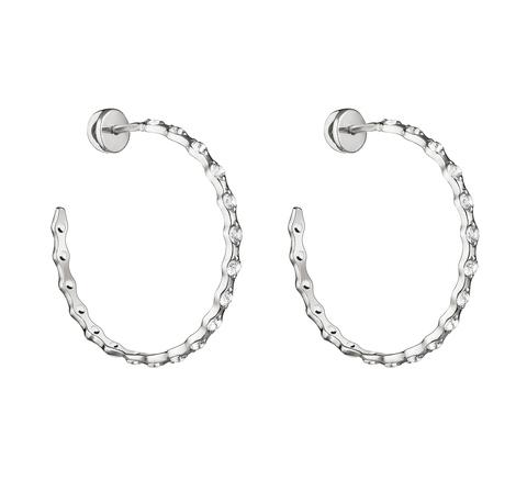 Серьги-кольца с белыми топазами