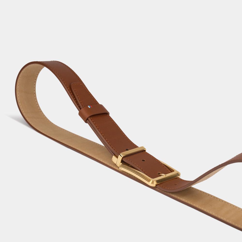 Ремень мужской из натуральной кожи теленка коричневого цвета ширина 35мм с золотой пряжкой