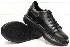 Женские кожаные кроссовки кеды на высокой подошве EVA collection 0721 All Black.