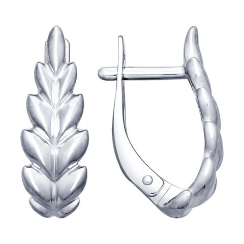 94022690- Серьги «Перышки» из серебра