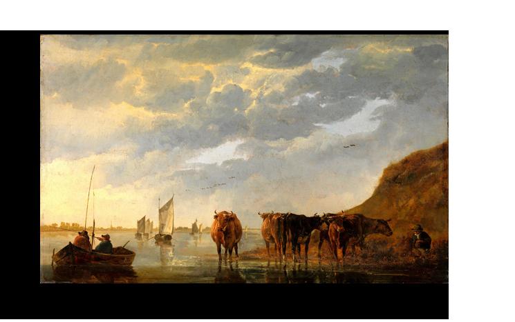 """Альберт Кейп Репродукция """" Альберт Кейп - Пастух с пятью коровами на берегу реки"""" Х170.png"""