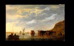"""Репродукция """" Альберт Кейп - Пастух с пятью коровами на берегу реки"""""""