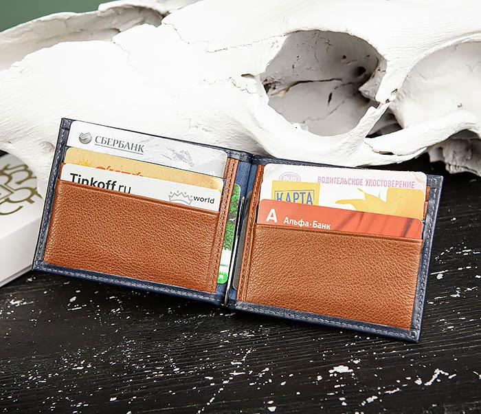 WL322-3 Кожаный зажим для купюр и карточек из кожи, «Moriz» фото 05
