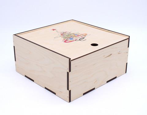 Коробка фанерная с печатью, пенал, 25*25*11 см