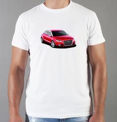 Футболка с принтом Ауди (Audi) белая 0011
