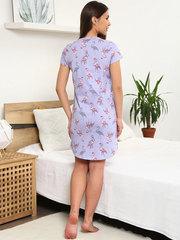 Мамаландия. Сорочка для беременных и кормящих с пуговицами короткий рукав, фламинго/серый