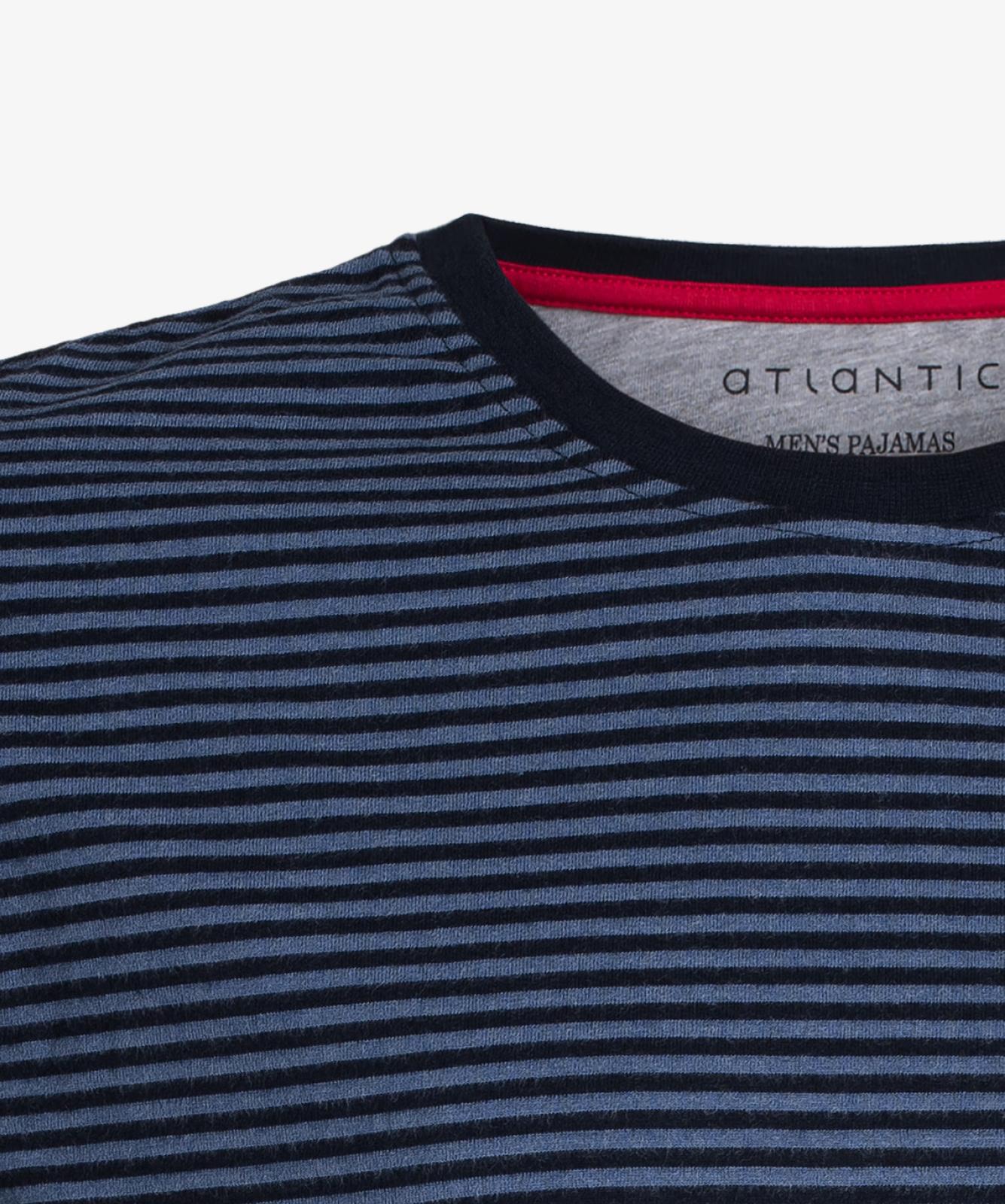 Мужская пижама Atlantic, 1 шт. в уп., хлопок, темно-синяя, NMP-342