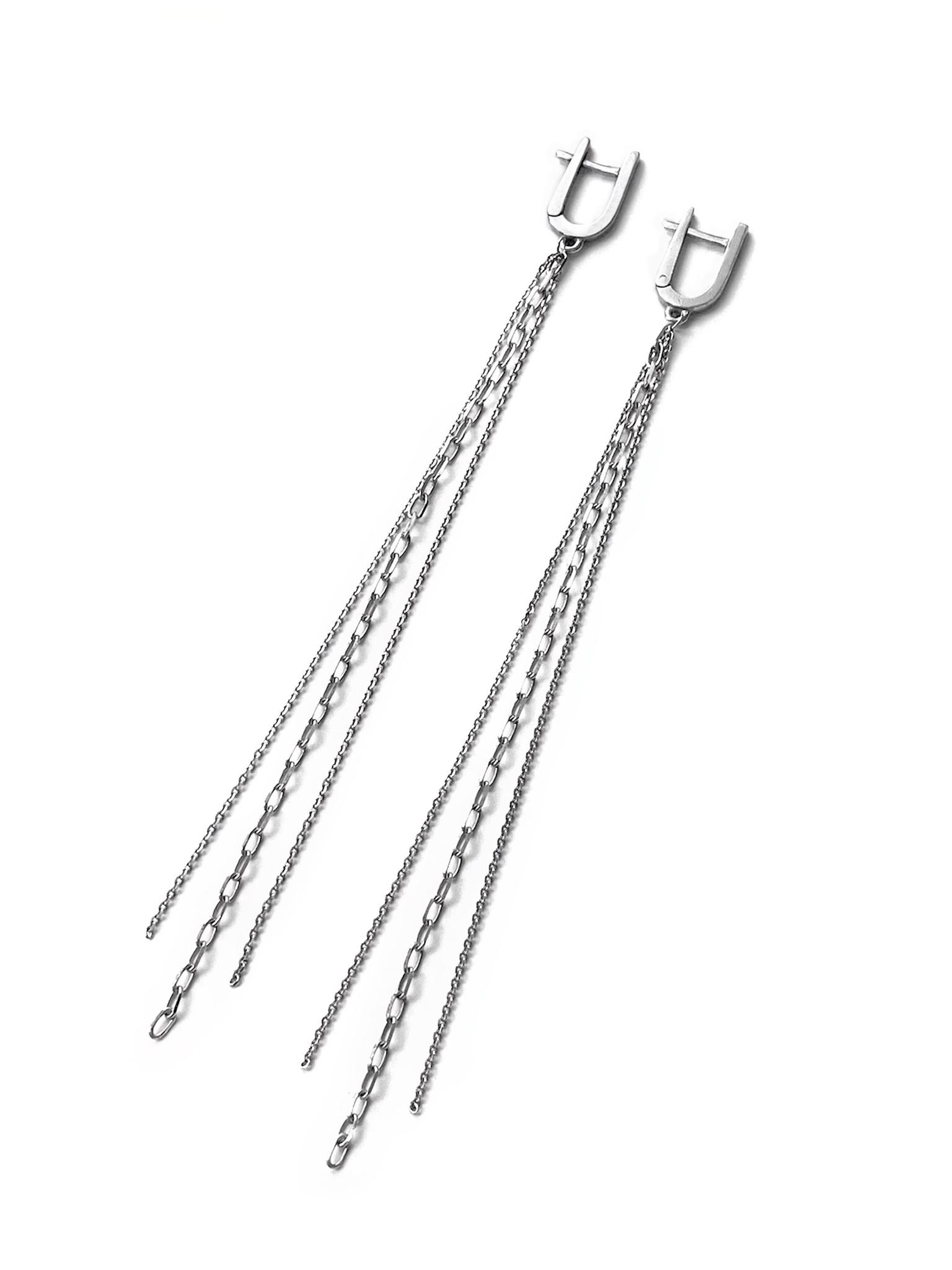 Серебряные серьги-кисти с разными цепочками