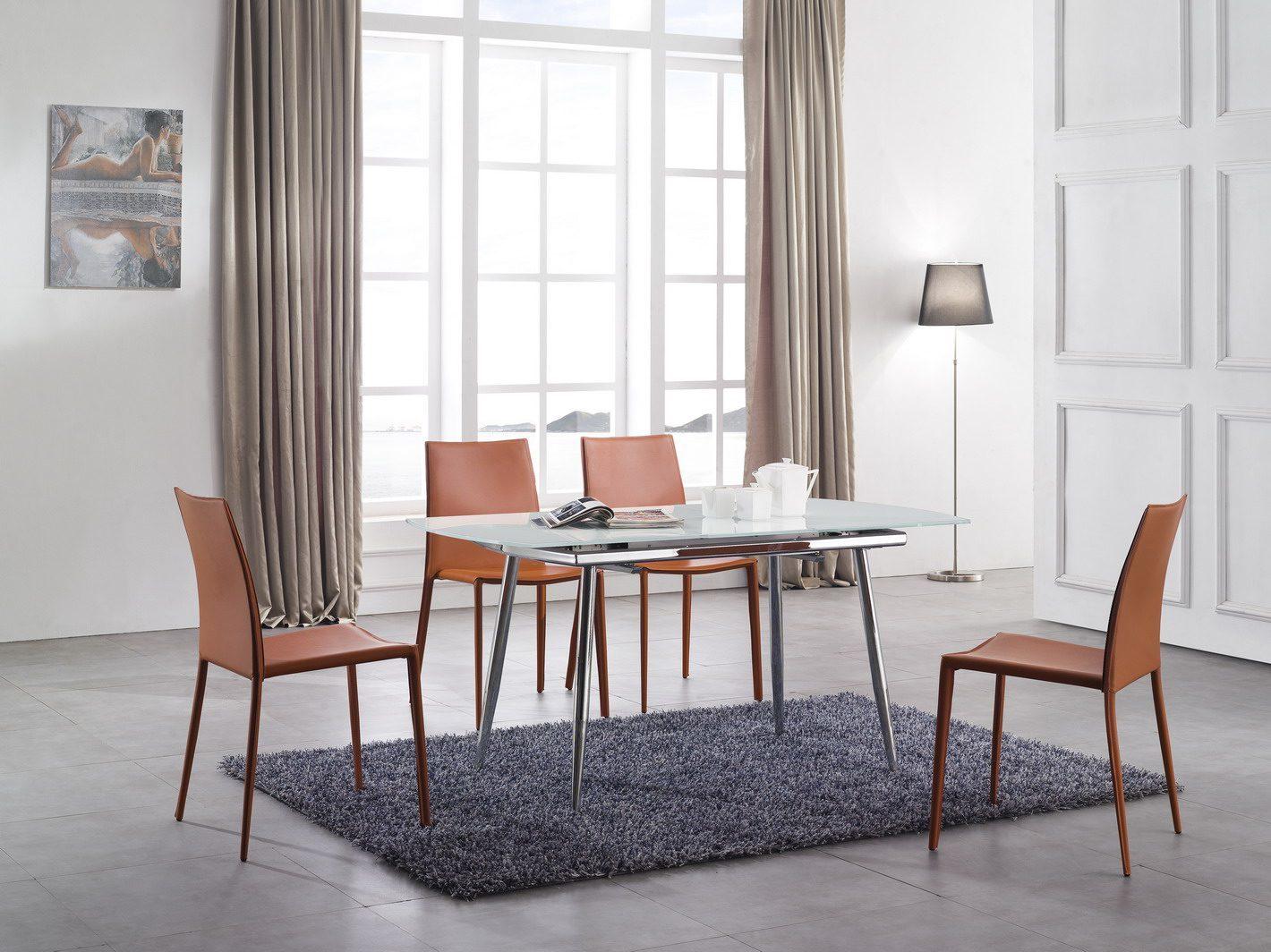 Стол ESF LT6230 белый, стулья ESF 3018 оранжевые