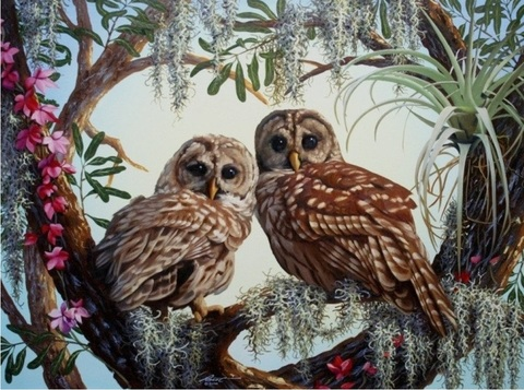 Алмазная Мозаика + Багет 40x50 Совята на дереве