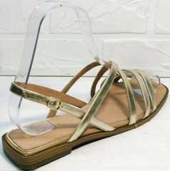 Красивые женские босоножки на квадратном каблуке Wollen M.20237D ZS Gold.