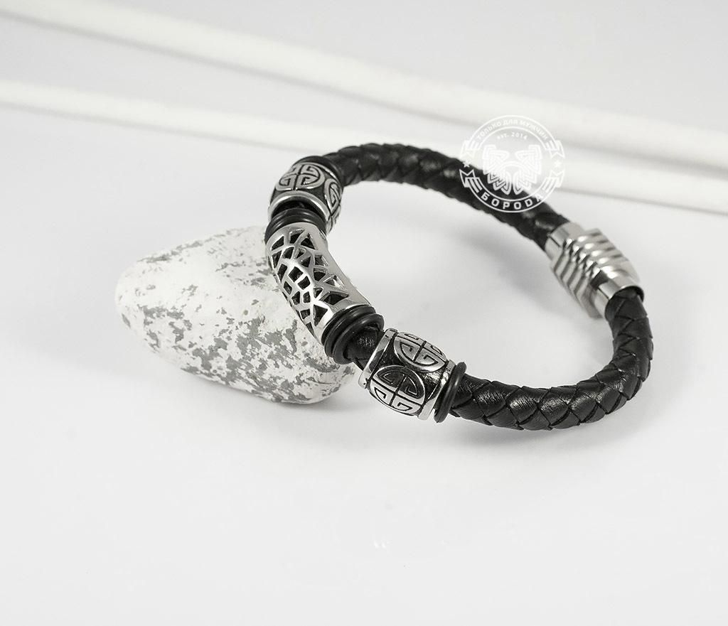 BM362 Красивый мужской браслет из кожи и стали, магнитная застежка (19 см) фото 04