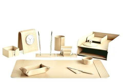 Письменный набор для руководителя 13 предметов из кожи Treccia/слоновая кость
