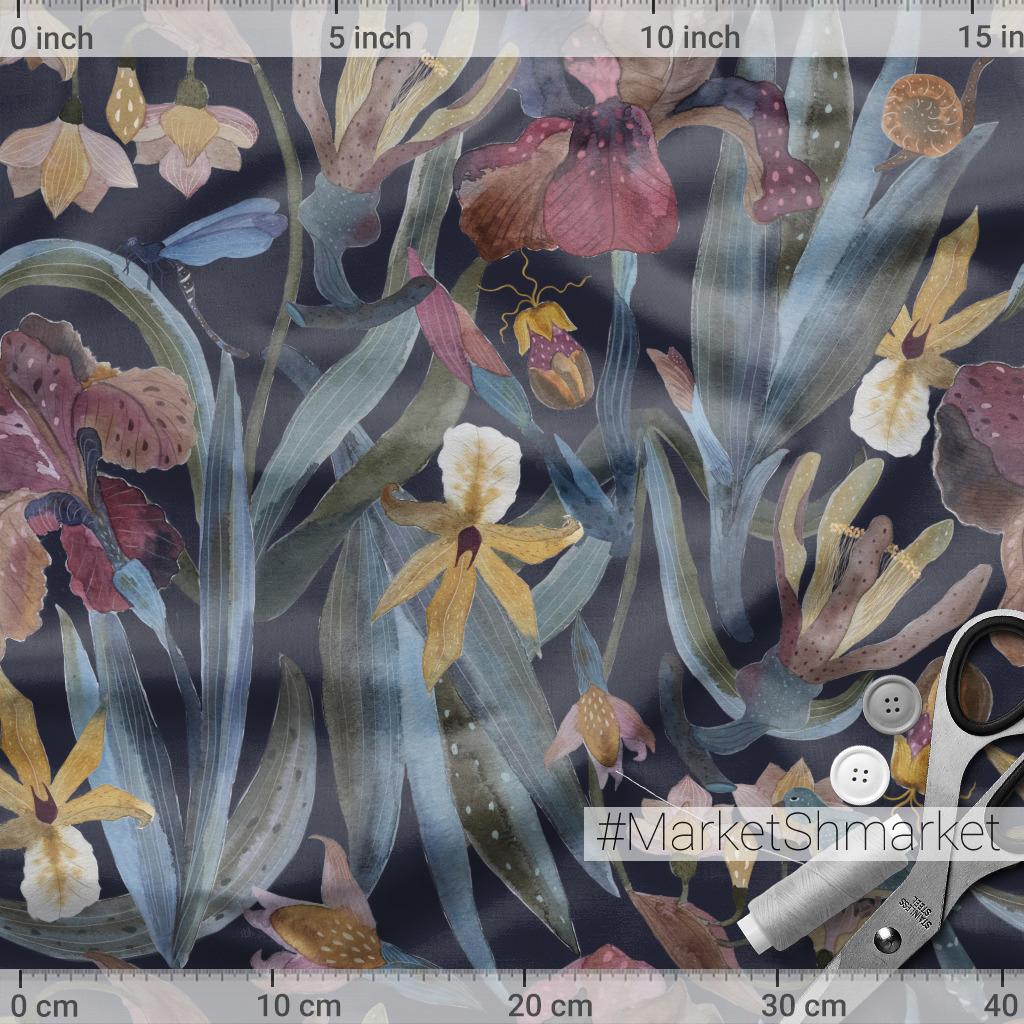 Ирисы, цветы, птица на тёмном, акварель
