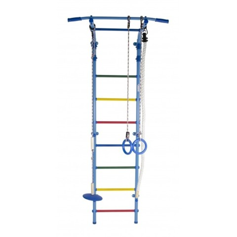 ДСК Start 2 цв. голубой радуга (регулируемый турник. канат, кольца, тарзанка)