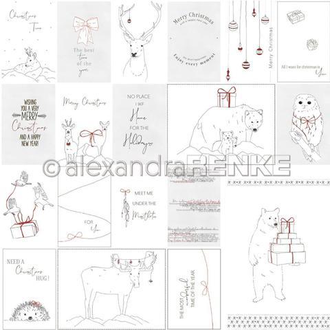 Лист одностороннего кардстока 30х30 см -Alexandra Renke Lena's Christmas Design Paper- Nordic Animals- 1 шт