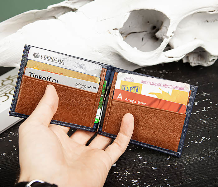 WL322-3 Кожаный зажим для купюр и карточек из кожи, «Moriz» фото 07