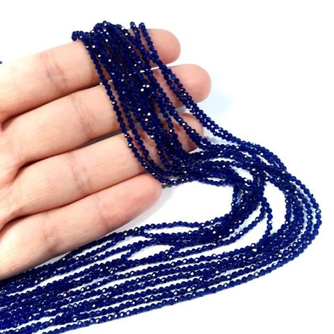 Бусины шпинель (имитация) граненая 2 мм цвет синий цена за 185 бусин (~37 см)
