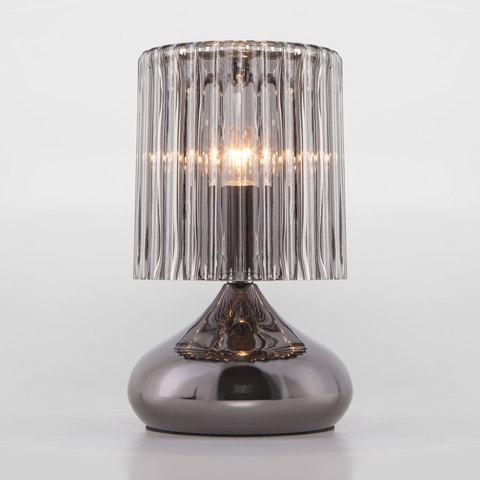 Настольная лампа со стеклянным абажуром 01068/1 черный жемчуг