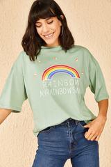 Qadın üçün geniş ölçülü açıq yaşıl t-shirt Rainbow 10501027