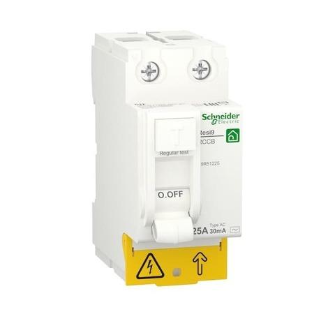 Выключатель дифференциального тока УЗО 2P - 25 А 30 мА 2 модуля 230 В~. Schneider Electric Resi9. R9R51225