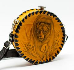 Фляга круглая, натуральная кожа с художественным выжиганием, 600 мл, фото 2