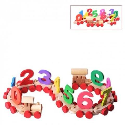 Деревянный паровозик Paremo с цифрами в пакете PE817-7