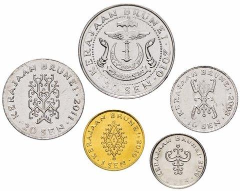 Набор из 5 монет. Бруней. 2008-2011 гг. UNC