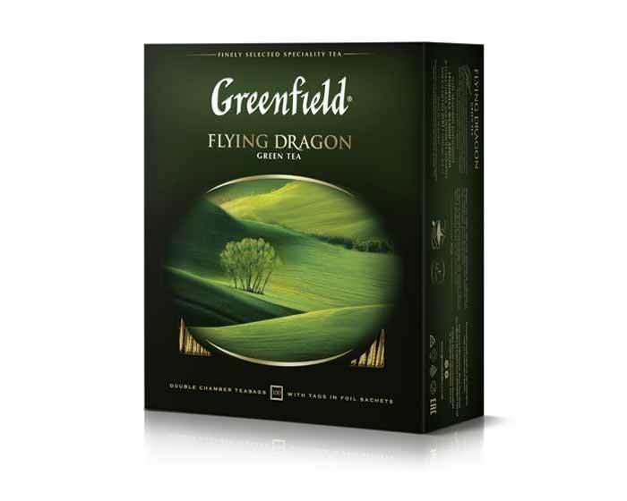 Чай зеленый в пакетиках из фольги Greenfield Flying Dragon, 100 пак/уп