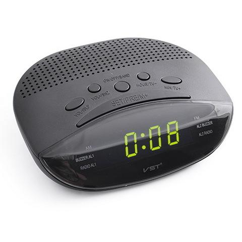 Часы сетевые 908-2 зеленые, FM радио, 220V