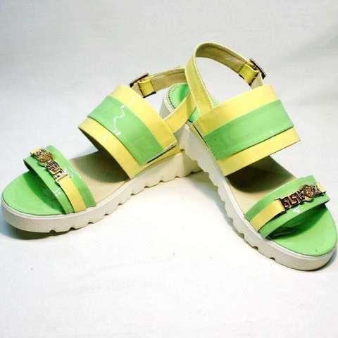 Женские сандали на толстой подошве Crisma 784 Yellow Green