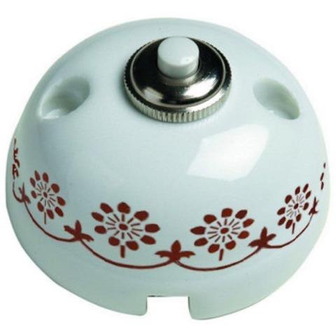 Выключатель/кнопка 10А 250В~. Цвет Белый/коричневый декор. Fontini Garby(Фонтини Гарби). 30310132