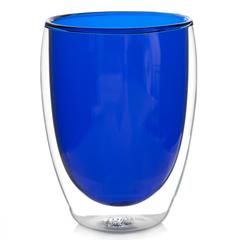 Стакан с двойными стенками цветной 350 мл, синий