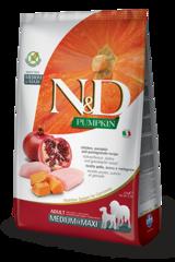 Корм для собак средних и крупных пород, Farmina N&D Pumpkin Chicken Pomegranate Adult Medium/Maxi, с курицей и гранатом