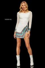 Sherri Hill 52941 Золотое платье с рукавом украшенное бисером