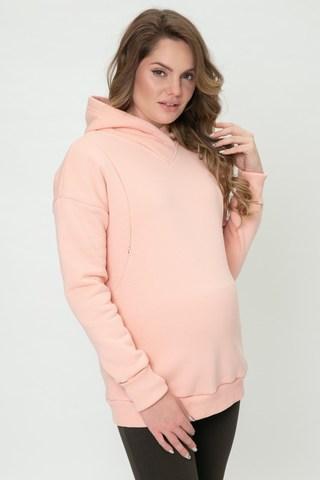 Утепленное худи для беременных и кормящих 11968 персиковый