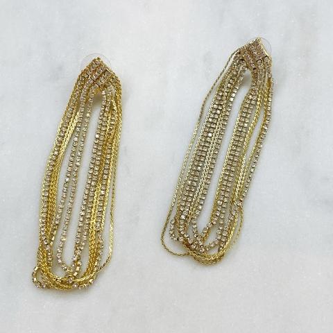 Серьги каскадные с кристаллами ш925 (золотистый)