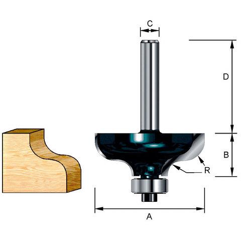 Фрезы кромочные фасонные(S-образные) 38,1х32х17,46х8; R=6,35 мм