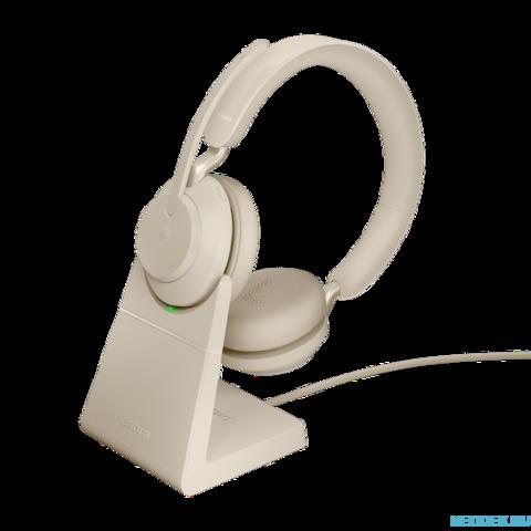 Jabra Evolve2 65 Stereo MS беспроводная гарнитура бежевая с док-станцией ( 26599-999-988 )
