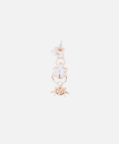 Моно-серьга Scarab & Ladybug White