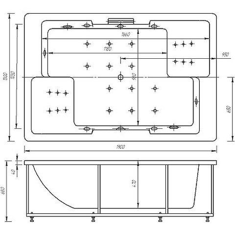 Ванна акриловая  Auatek Дорадо  190х130см. на каркасе и сливом-переливом. схема