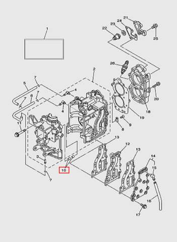 Штифт блока цилиндров лодочного мотора T15, OTH 9,9 SEA-PRO (2-10)