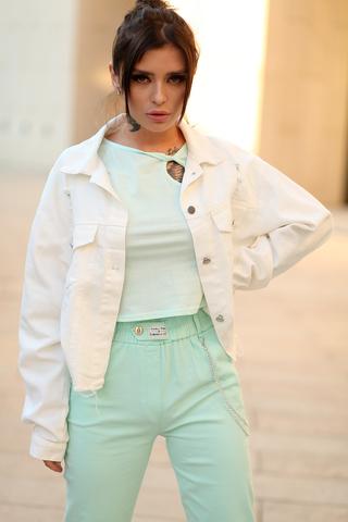Белая джинсовая куртка оверсайз купить