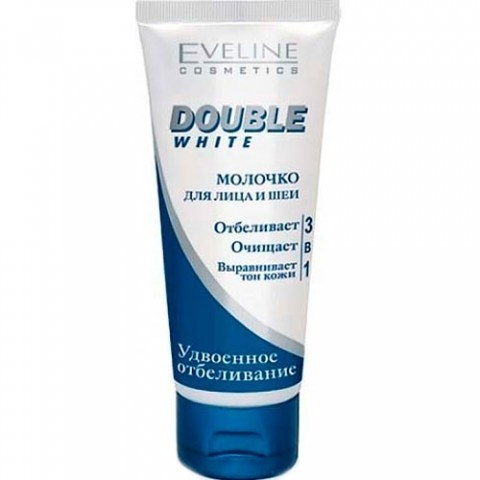 EVELINE DOUBLE WHITE Молочко для лица и шеи 3в1, 200мл
