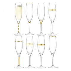 Набор из 8 бокалов-флейт золотым декором Deco 225 мл, фото 1