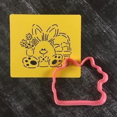 Зайка №35 с корзинкой яиц и цветами