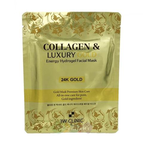 Антивозрастная гидрогелевая маска 3W Clinic для разглаживания морщин с коллагеном и золотом 30 гр