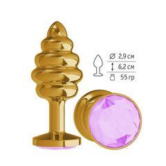 Анальная  втулка Gold Spiral с сиреневым  кристаллом