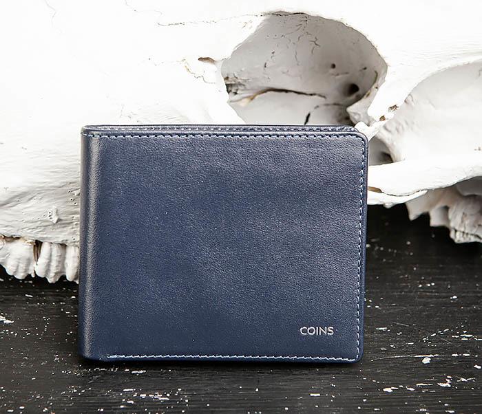 WL320-3 Классический кошелек для купюр и карт из синей кожи, «Moriz»