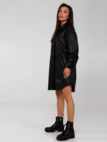 Платье-рубашка из эко-кожи на велюре YOS